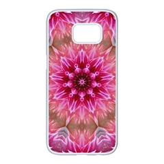 Flower Mandala Art Pink Abstract Samsung Galaxy S7 Edge White Seamless Case