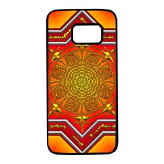 Mandala Zen Meditation Spiritual Samsung Galaxy S7 Black Seamless Case by Celenk