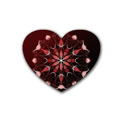 Mandala Red Bright Kaleidoscope Rubber Coaster (heart)  by Celenk