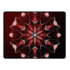 Mandala Red Bright Kaleidoscope Fleece Blanket (small)