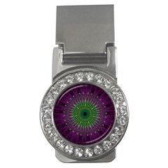 Purple Mandala Fractal Glass Money Clips (cz)  by Celenk