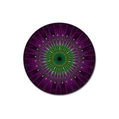 Purple Mandala Fractal Glass Magnet 3  (round)