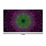 Purple Mandala Fractal Glass Business Card Holders Front