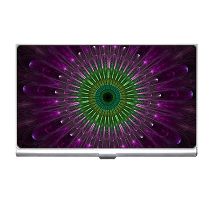 Purple Mandala Fractal Glass Business Card Holders