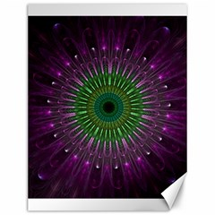 Purple Mandala Fractal Glass Canvas 12  X 16