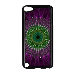 Purple Mandala Fractal Glass Apple Ipod Touch 5 Case (black) by Celenk