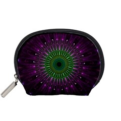 Purple Mandala Fractal Glass Accessory Pouches (small)  by Celenk