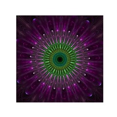 Purple Mandala Fractal Glass Small Satin Scarf (square) by Celenk
