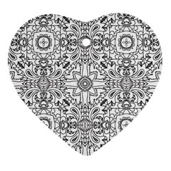 Mandala Pattern Line Art Heart Ornament (two Sides) by Celenk