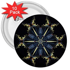 Mandala Butterfly Concentration 3  Buttons (10 Pack)  by Celenk