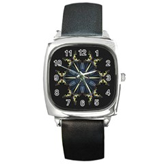 Mandala Butterfly Concentration Square Metal Watch