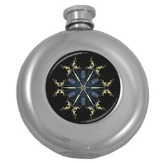 Mandala Butterfly Concentration Round Hip Flask (5 Oz) by Celenk