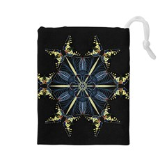 Mandala Butterfly Concentration Drawstring Pouches (large)