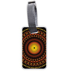 Mandala Psychedelic Neon Luggage Tags (one Side)  by Celenk