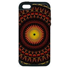 Mandala Psychedelic Neon Apple Iphone 5 Hardshell Case (pc+silicone) by Celenk