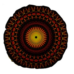 Mandala Psychedelic Neon Large 18  Premium Round Cushions by Celenk