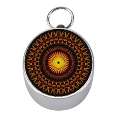 Mandala Psychedelic Neon Mini Silver Compasses by Celenk