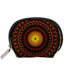 Mandala Psychedelic Neon Accessory Pouches (small)  by Celenk