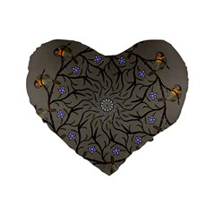 Bird Mandala Spirit Meditation Standard 16  Premium Flano Heart Shape Cushions by Celenk