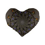 Bird Mandala Spirit Meditation Standard 16  Premium Flano Heart Shape Cushions Back