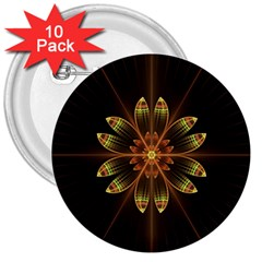 Fractal Floral Mandala Abstract 3  Buttons (10 Pack)  by Celenk