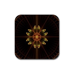 Fractal Floral Mandala Abstract Rubber Square Coaster (4 Pack)  by Celenk