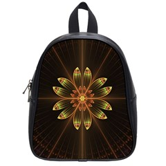Fractal Floral Mandala Abstract School Bag (small) by Celenk