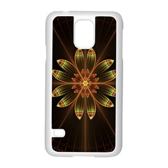 Fractal Floral Mandala Abstract Samsung Galaxy S5 Case (white) by Celenk
