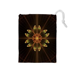 Fractal Floral Mandala Abstract Drawstring Pouches (medium)  by Celenk
