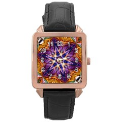 Kaleidoscope Pattern Kaleydograf Rose Gold Leather Watch  by Celenk