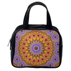 Geometric Flower Oriental Ornament Classic Handbags (one Side)