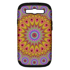 Geometric Flower Oriental Ornament Samsung Galaxy S Iii Hardshell Case (pc+silicone) by Celenk