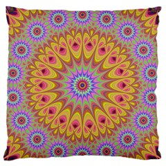Geometric Flower Oriental Ornament Large Flano Cushion Case (two Sides) by Celenk