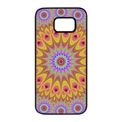 Geometric Flower Oriental Ornament Samsung Galaxy S7 Edge Black Seamless Case by Celenk