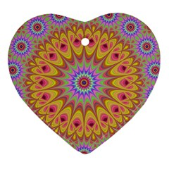 Geometric Flower Oriental Ornament Heart Ornament (two Sides) by Celenk