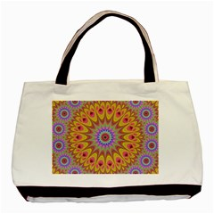 Geometric Flower Oriental Ornament Basic Tote Bag (two Sides) by Celenk