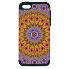 Geometric Flower Oriental Ornament Apple Iphone 5 Hardshell Case (pc+silicone)