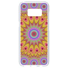 Geometric Flower Oriental Ornament Samsung Galaxy S8 White Seamless Case by Celenk