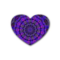 Purple Kaleidoscope Mandala Pattern Rubber Coaster (heart)  by Celenk