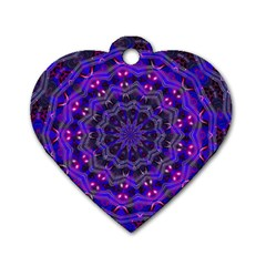 Purple Kaleidoscope Mandala Pattern Dog Tag Heart (one Side)