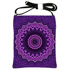 Mandala Purple Mandalas Balance Shoulder Sling Bags by Celenk