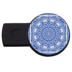 Blue Mandala Kaleidoscope Usb Flash Drive Round (2 Gb)
