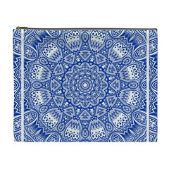 Blue Mandala Kaleidoscope Cosmetic Bag (xl) by Celenk