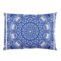 Blue Mandala Kaleidoscope Pillow Case (two Sides) by Celenk