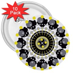 Mandala Geometric Design Pattern 3  Buttons (10 Pack)  by Celenk