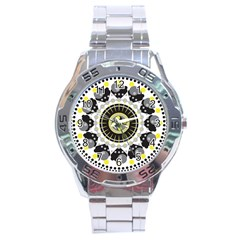 Mandala Geometric Design Pattern Stainless Steel Analogue Watch by Celenk