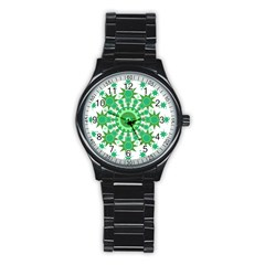 Mandala Geometric Pattern Shapes Stainless Steel Round Watch