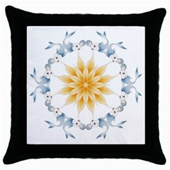 Mandala Mermaid Lake Rose Swimmers Throw Pillow Case (black)