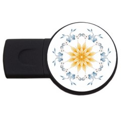Mandala Mermaid Lake Rose Swimmers Usb Flash Drive Round (4 Gb) by Celenk