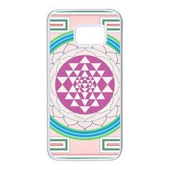 Mandala Design Arts Indian Samsung Galaxy S7 White Seamless Case by Celenk